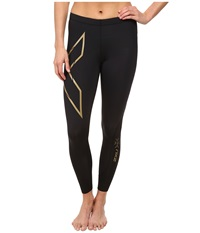 2Xu Elite Mcs Compression Tights Black Gold Women's Workout