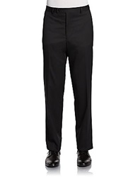 Calvin Klein Slim Fit Pinstriped Wool Trousers Black