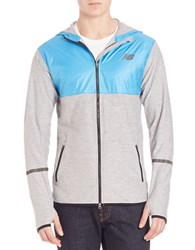 New Balance Contrast Athletic Hoodie Blue