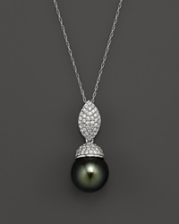 Bloomingdale's Cultured Tahitian Pearl And Diamond Pendant Necklace In 14K White Gold 18 Black