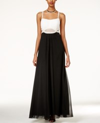 Teeze Me Juniors' Embellished Illusion Waist Two Tone Gown Black White