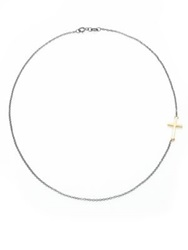 Mizuki 14K Yellow Gold And Blackened Sterling Silver Side Cross Necklace Silver Gold