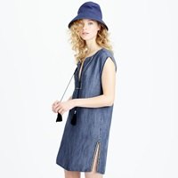 J.Crew Sleeveless Chambray Tassel Beach Tunic