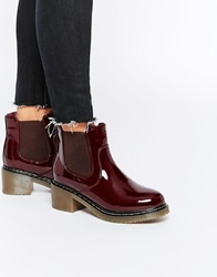 New Look Patent Gum Sole Heeled Boot Deepred