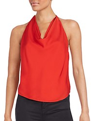 Haute Hippie Silk Halter Top Blood Orange