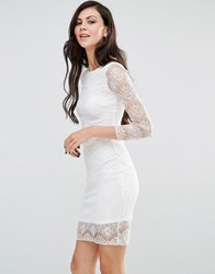 Lipstick Boutique Long Sleeve Bodycon Dress With Lace Sleeves Ivory Cream