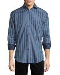 Neiman Marcus Long Sleeve Striped Woven Sport Shirt Blue