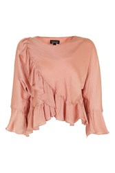 Topshop Ruffle Wrap Long Sleeve Blouse Pink