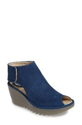 Fly London Women's Yahl Open Toe Platform Wedge Blue Nubuck Leather