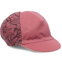 Cafe Du Cycliste Printed Canvas Cycling Cap Pink