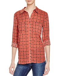 Olive And Oak Woven Printed Shirt Compare At 64 Rust Medal