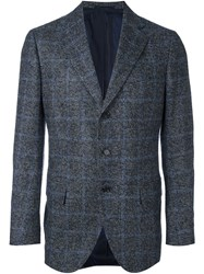 Cesare Attolini Windowpane Tweed Blazer Grey