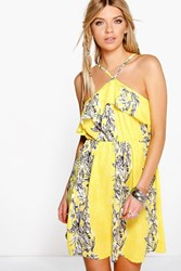 Boohoo Floral Strappy Woven Skater Dress Yellow