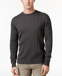 Club Room Men's Pima Cotton Cable Knit Sweater Only At Macy's Charcoal Heather