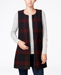 Sanctuary Cecilia Textured Plaid Vest Shiraz Plaid