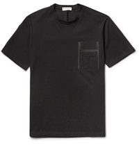 Balenciaga Embellished Cotton Jersey T Shirt Black