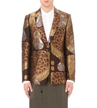 Dries Van Noten Bentley Jacquard Blazer Gold