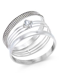 Inc International Concepts Gold Tone 3 Pc. Crystal Bangle Bracelet Set Only At Macy's Silver