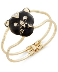 Thalia Sodi Gold Tone Jet Black Pave Panther Hinge Bracelet Only At Macy's