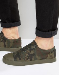 Asos Lace Up Plimsolls In Camo Canvas With Toe Cap Khaki Green