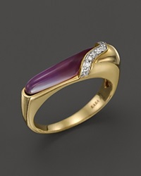 Kara Ross 18K Yellow Gold Thin Hydra Stacking Ring With Amethyst Mother Of Pearl And Diamonds Gold Multi