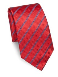 Charvet Leaf And Stripe Print Silk Tie Red