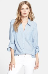 Joie Pocket Cotton Shirt Chambray Blue