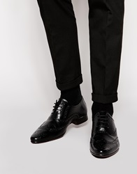 Asos Oxford Brogue Shoes In Leather Black