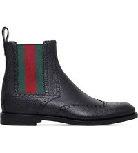 Gucci Strand Wed Detail Leather Chelsea Boots Black
