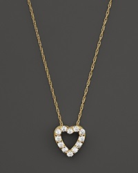 Bloomingdale's Diamond Heart Pendant Necklace In 14K Yellow Gold .25 Ct. T.W.