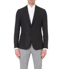 Hugo Boss Micro Patterned Wool And Linen Blend Jacket Black