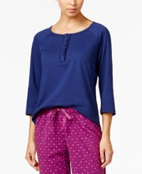 Karen Neuburger Ruffled Henley Pajama Top Navy