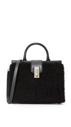Marc Jacobs West End Shearling Small Top Handle Bag Black