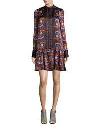 Thakoon Floral Print Long Sleeve Button Front Dress