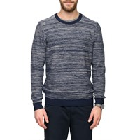 Folk Ecru Navy Bib Sweater Blue