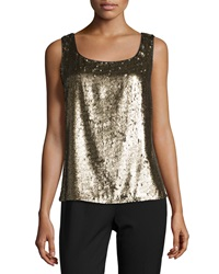 Lafayette 148 New York Carlin Round Neck Metallic Tank Antique Gold Metal