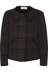 Etoile Isabel Marant Teddy Quilted Plaid Linen And Cotton Blend Jacket Brown