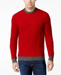 Club Room Men's Cable Knit Sweater Only At Macy's Red River