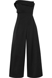 Cotton And Silk Blend Wide Leg Jumpsuit Black