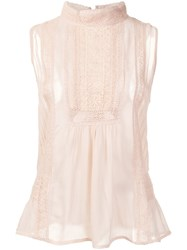 Joie High Neck Sheer Blouse Nude And Neutrals