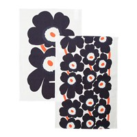 Marimekko Unikko Tea Towel Pack Of 2 Grey Coral