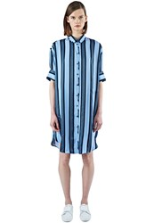 Acne Studios Lash Long Striped Shirt Dress Blue