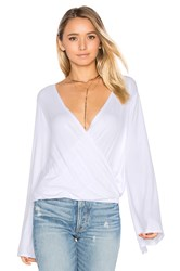Chaser Bell Sleeve Surplice Top White