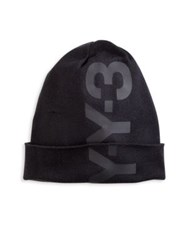 Y 3 Merino Wool And Cotton Cuffed Beanie Black