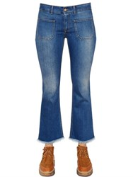 Stella Mccartney Crop Flared Stretch Cotton Denim Jeans