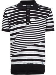 Diesel Multi Stripe Polo Shirt Black