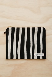 Forever 21 Half United Striped Zipper Pouch Black White