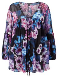 Adrianna Papell Floral Chiffon Blouse Multi Coloured Multi Coloured