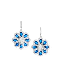 Fantasia By Deserio Faux Sapphire And Pave Cz Crystal Flower Drop Earrings Women's