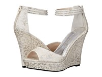 Caparros Chablis Silver Brocade Women's Wedge Shoes